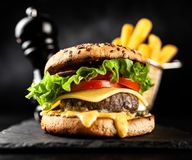 Delicious grilled burgers Royalty Free Stock Photo