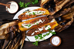 Delicious grilled corn Stock Photo