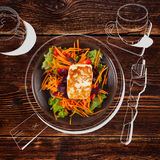 Delicious grilled halloumi cheese with salad. Royalty Free Stock Photos