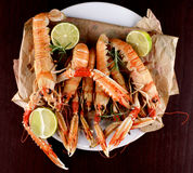 Delicious Grilled Langoustines Royalty Free Stock Photo
