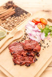 Delicious grilled marinated rack of lamb cut through to show the Royalty Free Stock Photography