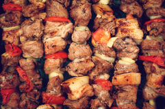 Delicious grilled meat, fried in nature. Royalty Free Stock Photos