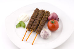Delicious grilled meat sticks Royalty Free Stock Image