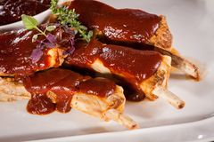 Delicious grilled pork ribs Royalty Free Stock Photos