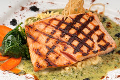 Delicious grilled salmon Royalty Free Stock Photos