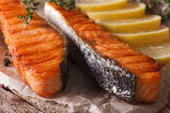 Delicious grilled salmon with lemon on the paper macro. Horizont Royalty Free Stock Photography