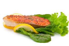 Delicious grilled salmon steak Royalty Free Stock Image