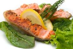 Delicious grilled salmon steak Royalty Free Stock Photos