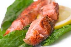 Delicious grilled salmon steak Stock Photos