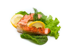 Delicious grilled salmon steak Stock Photography