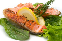 Delicious grilled salmon steak Stock Photos