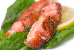 Delicious grilled salmon steak Stock Photo