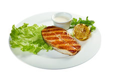 Delicious grilled salmon steak Stock Images