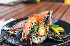 Delicious grilled seafood platter stock images