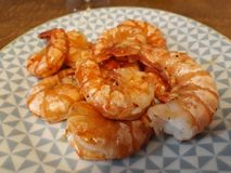 Grilled shrimp in butter and garlic stock photo