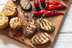Delicious grilled vegetables set top view Stock Image