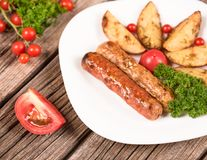 Delicious grilled wieners Royalty Free Stock Image