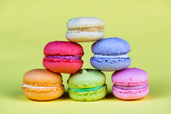 Delicious group of fresh and sweet  macarons Royalty Free Stock Image
