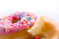 delicious group of sweet sugar donut cakes in lifestyle nutrition health care and calories abuse royalty free stock image