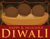 Delicious Gulab Jamun in Syrup on Bowl for Diwali Celebration, Vector Illustration Stock Photography
