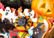 Delicious halloween cookies covered with fondant Royalty Free Stock Photo