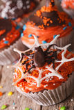 Delicious Halloween cupcakes with chocolate spider close-up. ver Royalty Free Stock Images