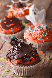 Delicious Halloween cupcakes decorated with frosting Stock Photo
