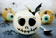 Delicious Halloween treat for dessert - milk jelly and eyes cupc Royalty Free Stock Photography