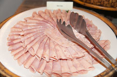 Delicious ham. Arranged on white plate Royalty Free Stock Image