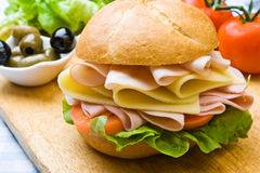 Delicious Ham, Cheese And Salad Sandwich Royalty Free Stock Photos