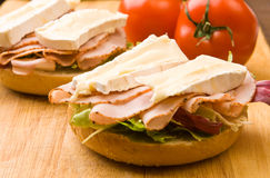 Delicious ham and cheese bagel Royalty Free Stock Photography