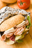 Delicious ham and cheese bagel Stock Image