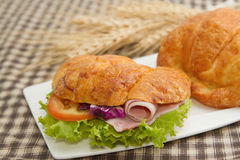 Delicious ham and cheese croissant Stock Image