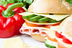 Delicious ham, cheese and salad sandwich Stock Image