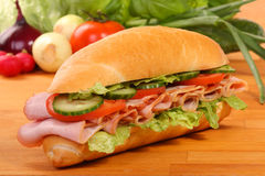 Delicious ham, cheese and salad sandwiches Stock Photo