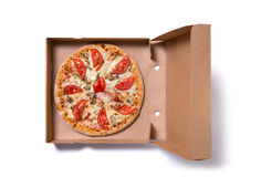 Delicious ham pizza in box Stock Image
