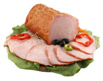 Delicious ham plate. Delicious plate with ham and vegetables Royalty Free Stock Image