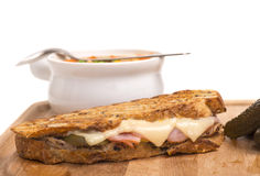 Delicious ham, pork and swiss cheese panini with v Royalty Free Stock Image