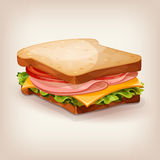 Delicious ham and vegetable sandwich. Cartoon style icon. Royalty Free Stock Photos
