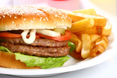 Delicious hamburger Stock Photography