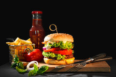 Delicious hamburger with French fries Stock Image