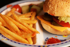Delicious hamburger and french fries Stock Photography