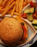 Delicious hamburger and french fries Royalty Free Stock Photo