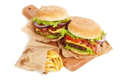 Delicious hamburger and fries Royalty Free Stock Photography