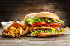 Delicious hamburger and fries. Delicious hamburger and french fries on wooden background Stock Images