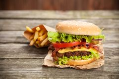 Delicious hamburger and fries Royalty Free Stock Photos