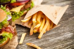 Delicious hamburger and fries Royalty Free Stock Image