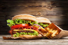 Delicious hamburger and fries Stock Images