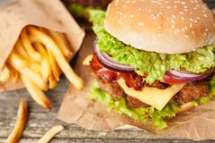Delicious hamburger and fries Stock Photography