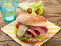 Delicious hamburger. Like a monster for kids party, selective focus Royalty Free Stock Photography